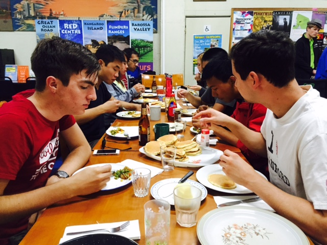 pancakes and eggs -- breakfast for dinner!