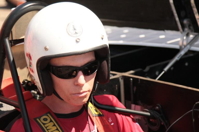 Hayden in the solar car