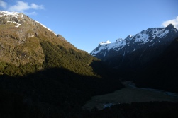 sunrise view leaving Routeburn Flats Hut