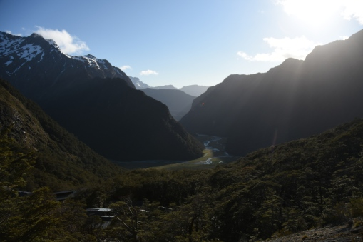 the view of Routeburn Falls from up above