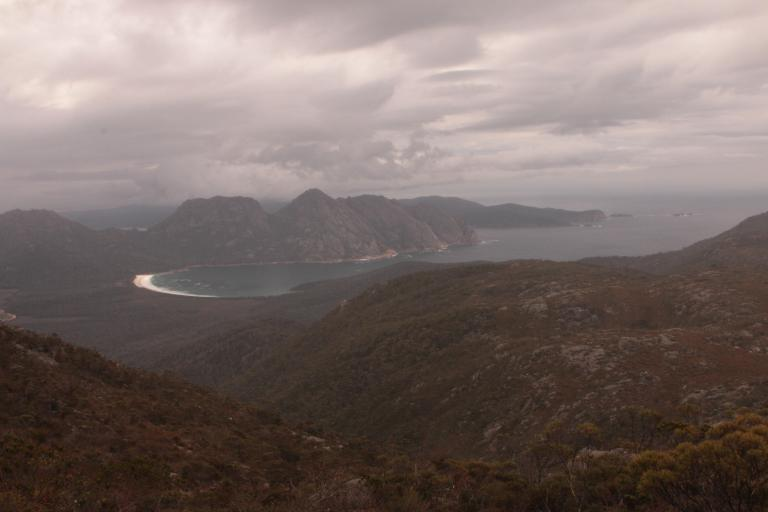 The view of Wineglass Bay from the top of Mount Graham.