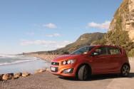 Holden Barina RS poses next to Punakaiki Beach