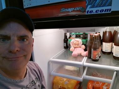 garage fridge with beer