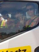 Hayden in the Hertz truck