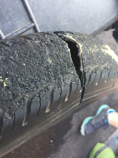 the tire is destroyed