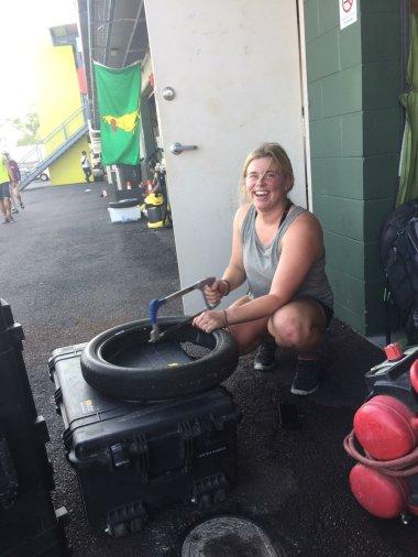 Sarah destroys a tire